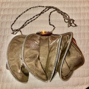 Gorgeous taupe party bag with rhinestone